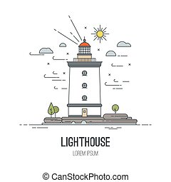 Lighthouse icon, vector illustration. In trendy linear style - navigational and travel concepts.