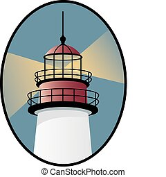 Vector lighthouse with shining lantern in an oval.