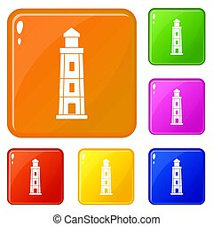 Lighthouse icons set color