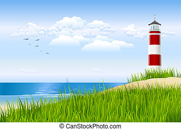 Illustrated ocean view scene with a lighthouse behind a sandy dune.