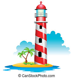 illustration of lighthouse with palm tree on island