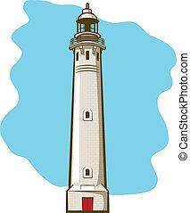 Lighthouse - Illustration of a vintage brick lighthouse