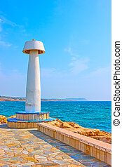 Lighthouse in Ayia Napa - Seafront with small lighthouse in ...