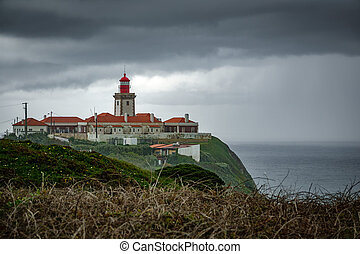 Cabo da Roca under the storm - Lighthouse in Cabo da Roca...