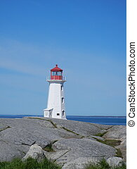 Lighthouse in distance - Peggy's Cove lighthouse on rocks