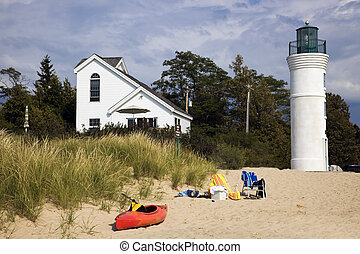 Lighthouse in Empire, Michigan, USA.