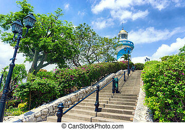 Lighthouse in Guayaquil - Lighthouse on Santa Ana Hill in...