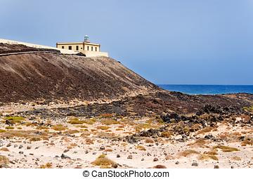 Lighthouse in Island of Lobos, Fuerteventura, Canary Islands