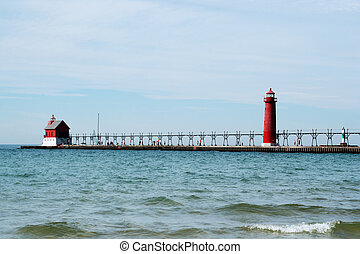Lighthouse in Michigan - Lighthouse and Pier, Grand Heaven,...