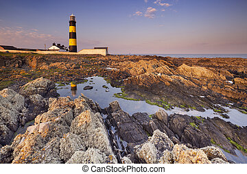 Lighthouse in Northern Ireland at sunset - The St. John's...