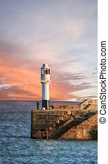 Lighthouse in Penzance, Cornwall, England, UK