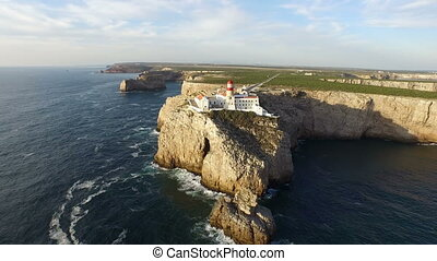 Lighthouse in Sagres Portugal - Aerial from the lighthouse...