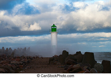 Lighthouse in storm.