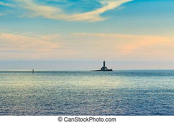 Lighthouse in stormy sea, Porer Rt Kamenjak Istra Croatia