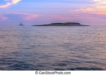 Lighthouse in stormy sea, Porer Rt Kamenjak Istra Croatia....