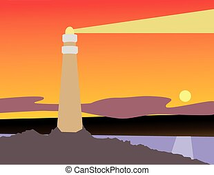Lighthouse in sunset