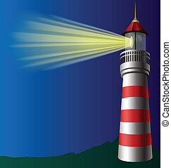Lighthouse in the dark with light beam eps10