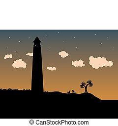 Lighthouse in the grass on the coas
