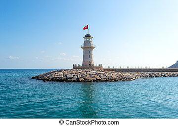 Lighthouse in the Mediterranean sea of Turkey
