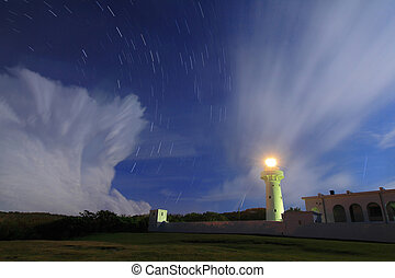 lighthouse in the night with moving star and floating cloud