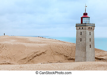 Lighthouse in the sand dunes of Rubjerg Knud