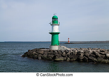 lighthouse in warnemuende at baltic sea (germany)