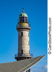 The lighthouse with blue sky in Warnemuende, Germany.