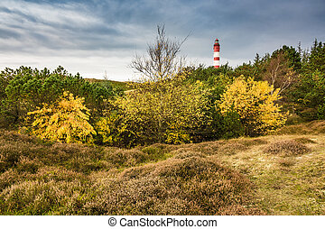 Lighthouse in Wittduen on the island Amrum
