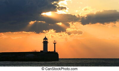 Lighthouse in Yalta at sunrise, Crimea