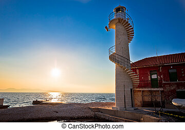 Lighthouse in Zadar at sunset
