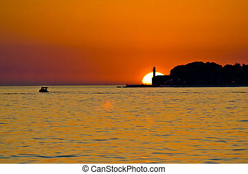 Lighthouse in Zadar epic sunset