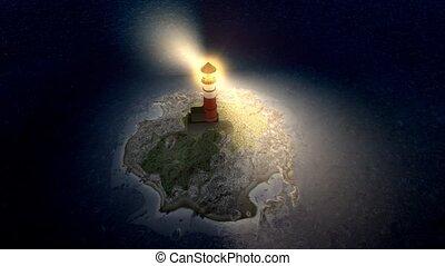 Lighthouse island nighttime view.