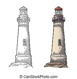 Lighthouse isolated on white background. Vector vintage engraving illustration.