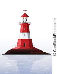 Lighthouse - isolated on white - Beautiful detailed...