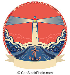 Lighthouse label with anchor and rope frame