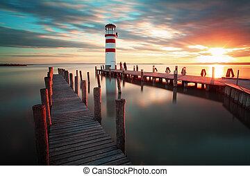 Lighthouse at Lake Neusiedl at sunset