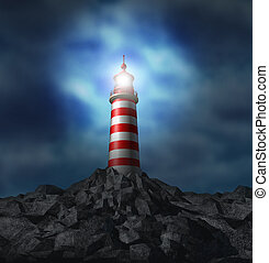 Lighthouse light illuminated on a rock mountain and strategic guidance symbol with a bright glowing flare on a cloudy storm background from the high tower for security and clear direction assistance in planning for a business strategy and clear guidance and consultation advice.
