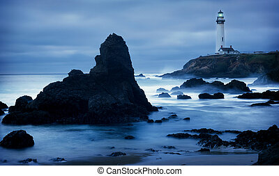 Lighthouse - lighthouse in california at dusk