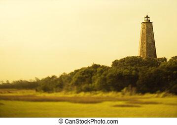 Lighthouse on Bald Head Island, North Carolina.