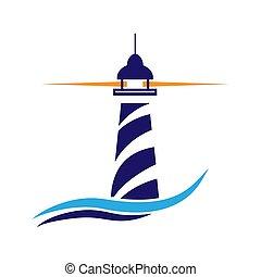 Lighthouse logo. Maritime navigation and shipping