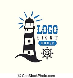 Lighthouse logo original design, retro badge for nautical school, sport club, business identity, print products vector Illustration on a white background