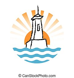 Lighthouse logo, vector