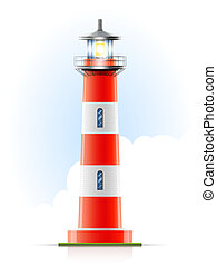 lighthouse marine signal vector illustration