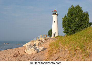 Lighthouse Michigan - Crisp Point Lighthouse on Lake...