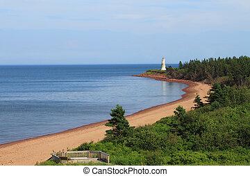 Lighthouse ocean landscape - Lighthouse at Cape Jourimain, ...