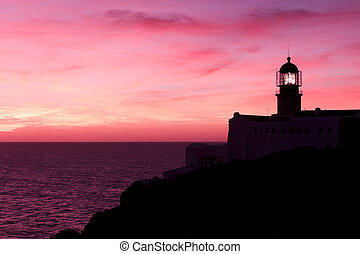 Lighthouse of Cabo Sao Vicente, Sagres, Portugal at Sunset...