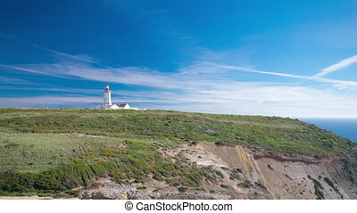 lighthouse of Cape Espichel, view from the temple, Portugal timelapse