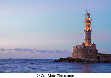 lighthouse of Chania, Crete, Greece - lighthouse of Chania...