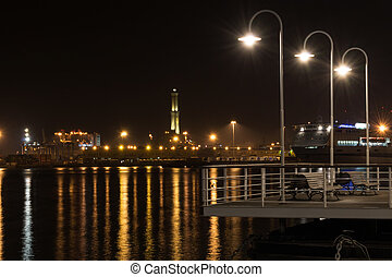 lighthouse of Genoa by night