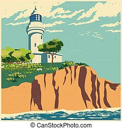 Stylized vector illustration of a lighthouse on a cliff